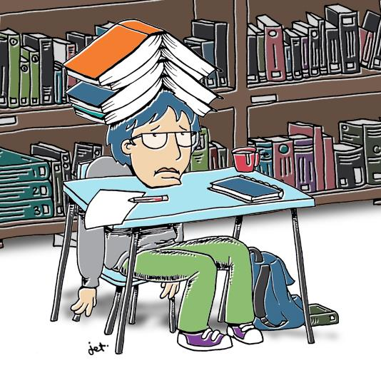 Illustration of tired student with lots of books