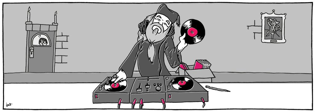 Dumbledore shows off his dj skills on a turn-table