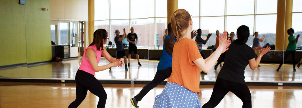 A dance class takes place