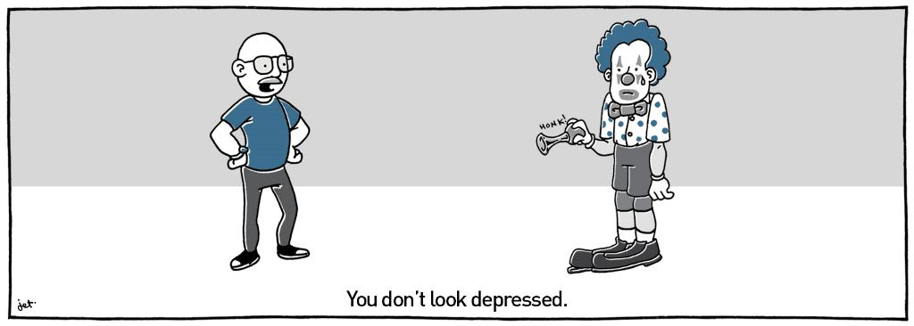 "A man says to a clown, ""you don't look depressed"""