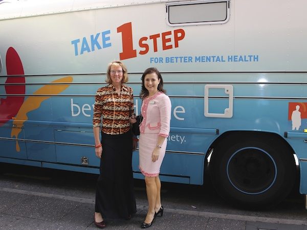 Mary Jo with Beyond Blue's big blue bus as part of the National Roadshow