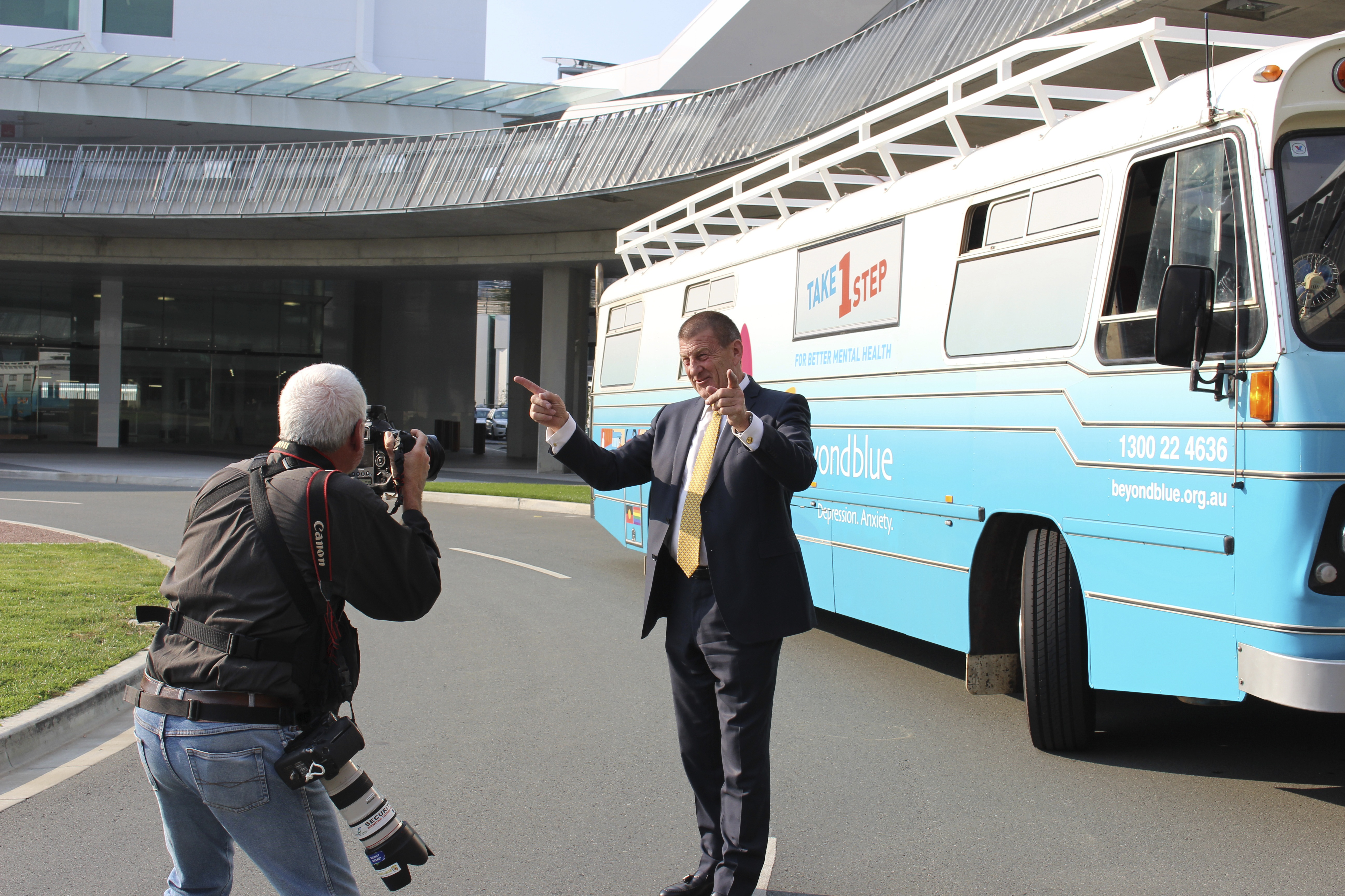 Beyond Blue Chairman Jeff Kennett greets the bus at Canberra Airport