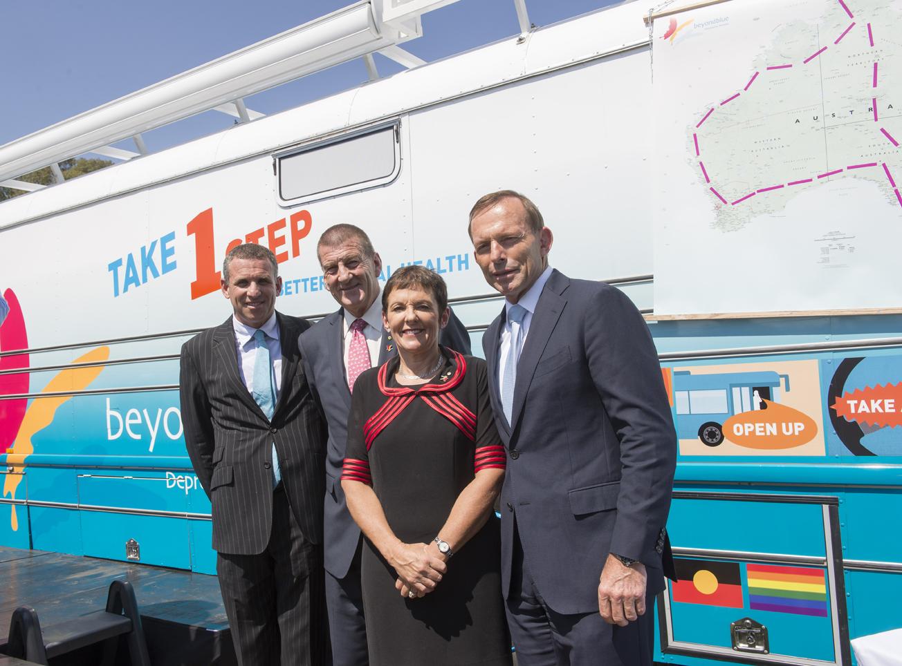 Dr Matthew Cullen of Medibank Health Solutions, Jeff Kennett, Kate Carnell and Prime Minister Tony Abbott.
