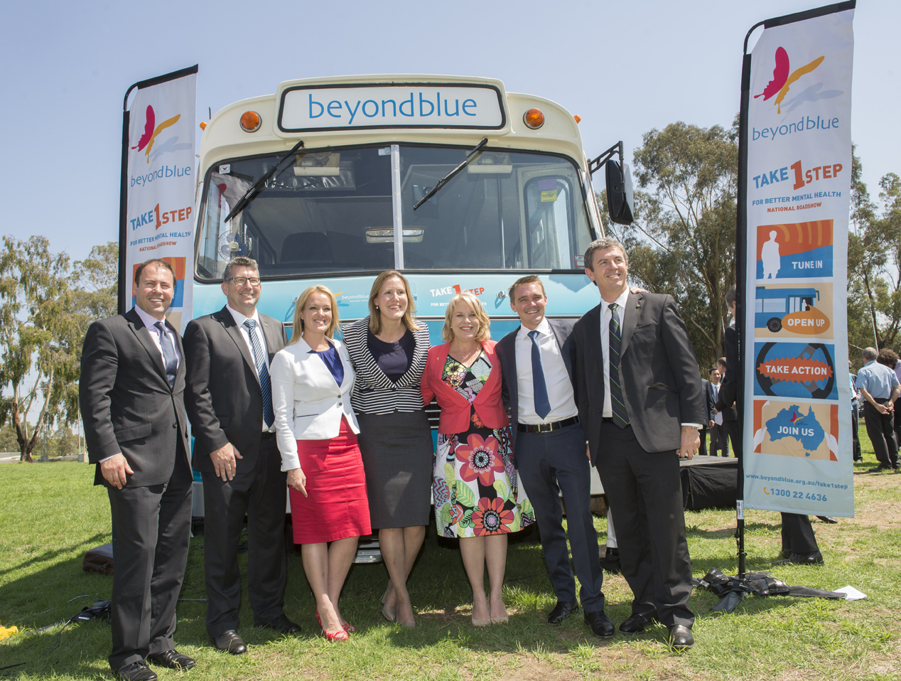 Federal MPs were keen to check out the bus.