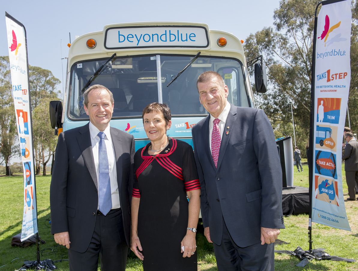 Leader of the Opposition Bill Shorten with Kate Carnell and Jeff Kennett.