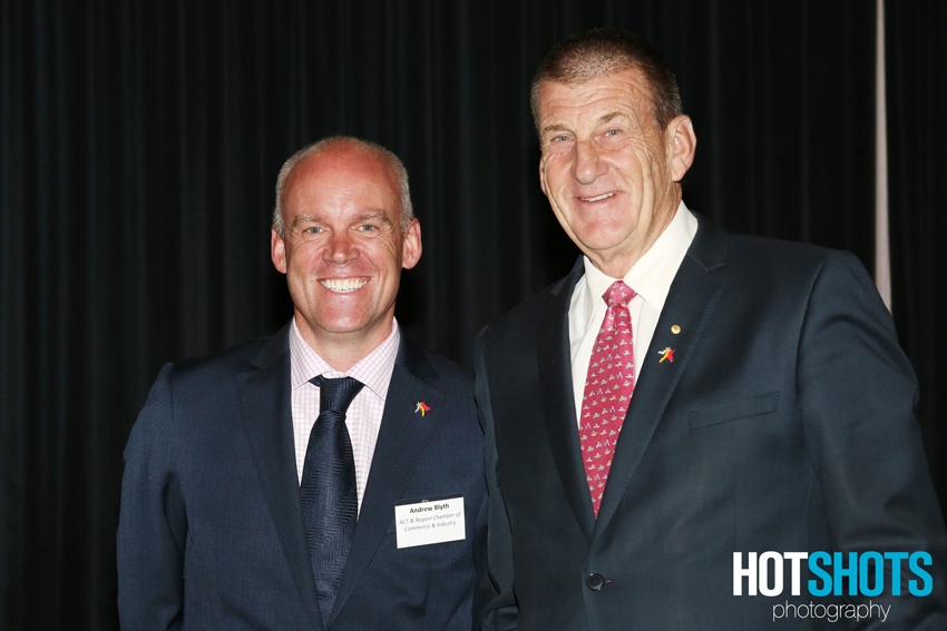 ACT and Region Chamber of Commerce and Industry CEO Andrew Blyth and Jeff Kennett at the workplace event in Canberra.