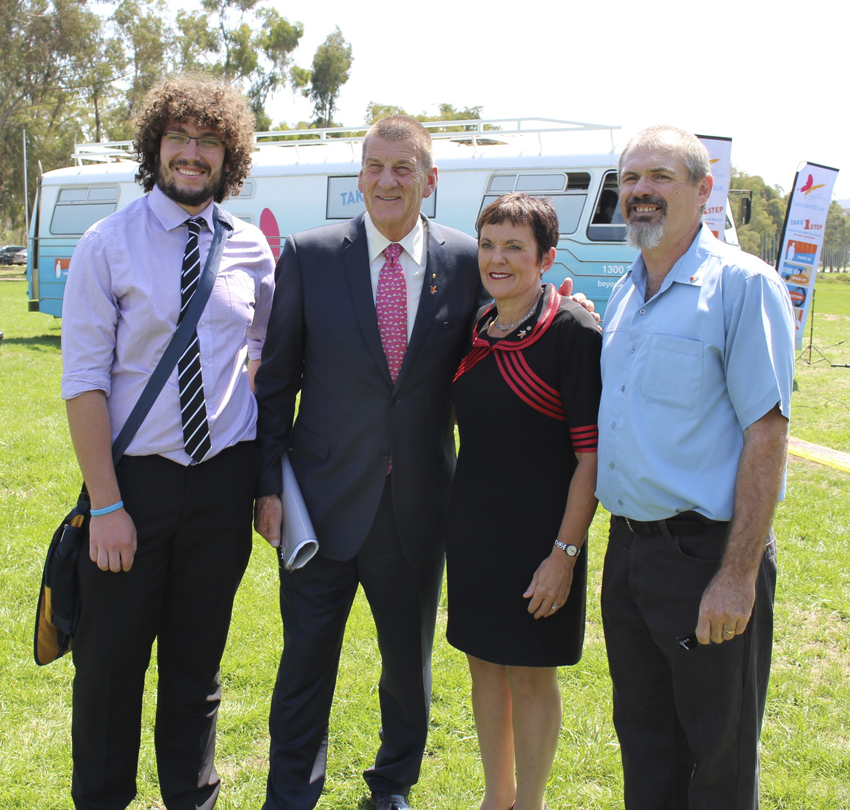 Jeff Kennett and Kate Carnell with Beyond Blue speakers Tristan and Eddie at the launch.