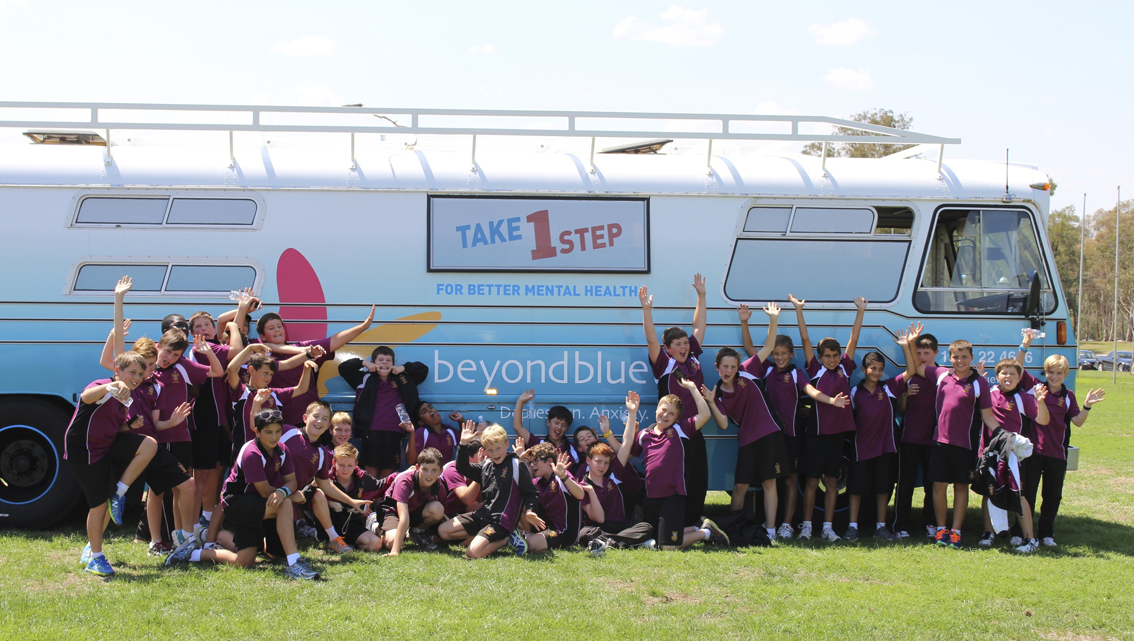 Students on a visit to Parliament House stopped by for a photo with the bus.