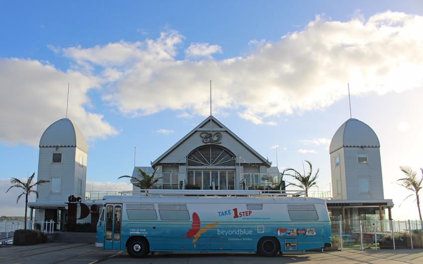 The bus outside The Pier Geelong.