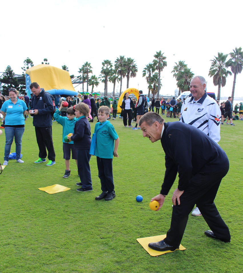 Getting in some bowls practice at the Big Blue Bash Bowls Australia display.