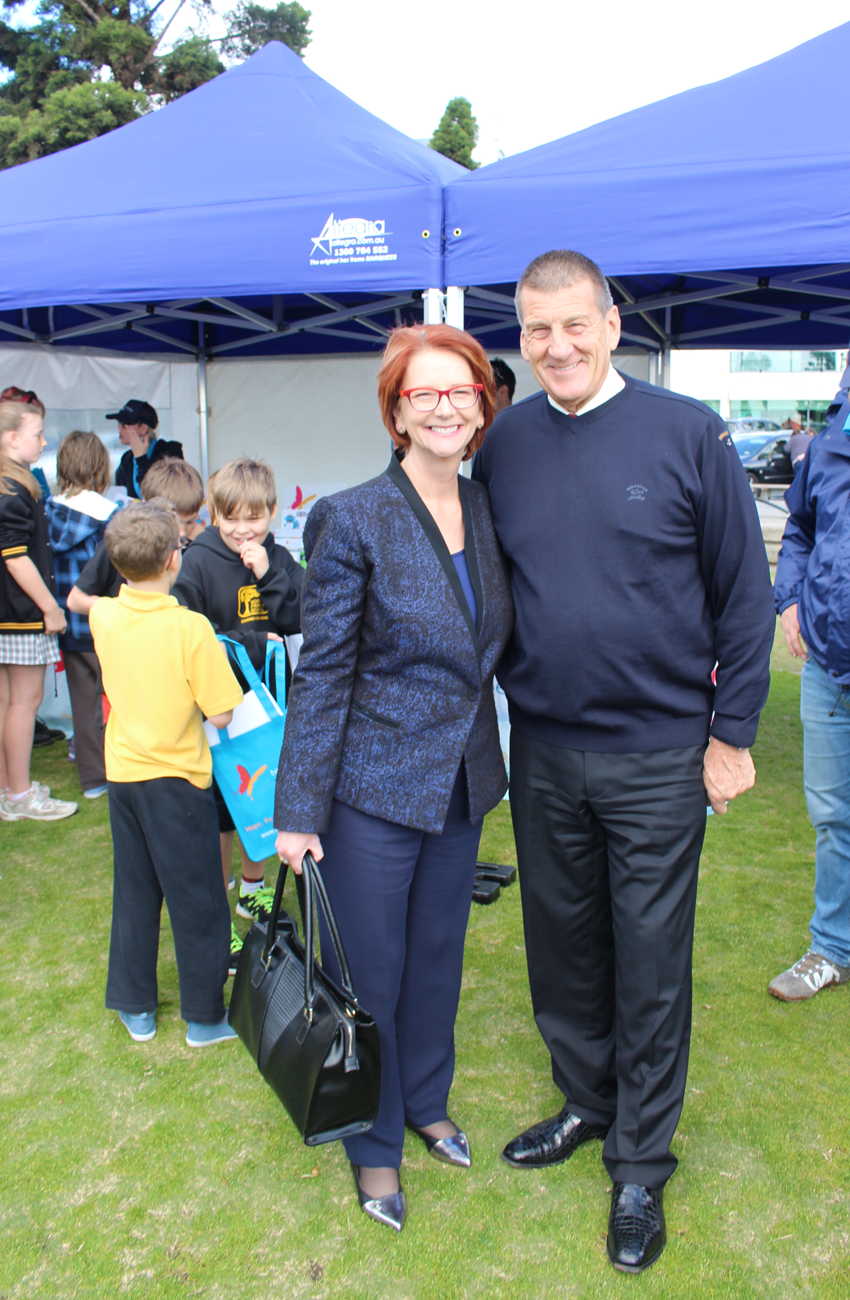 Beyond Blue Director The Hon. Julia Gillard and Beyond Blue Chairman The Hon. Jeff Kennett at the Big Blue Bash in Geelong.