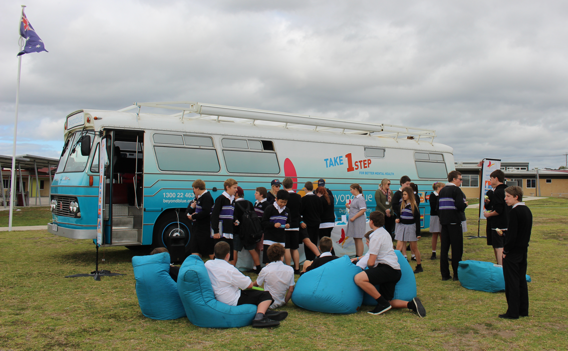 Students at Colac Secondary School received a visit from the big blue bus.