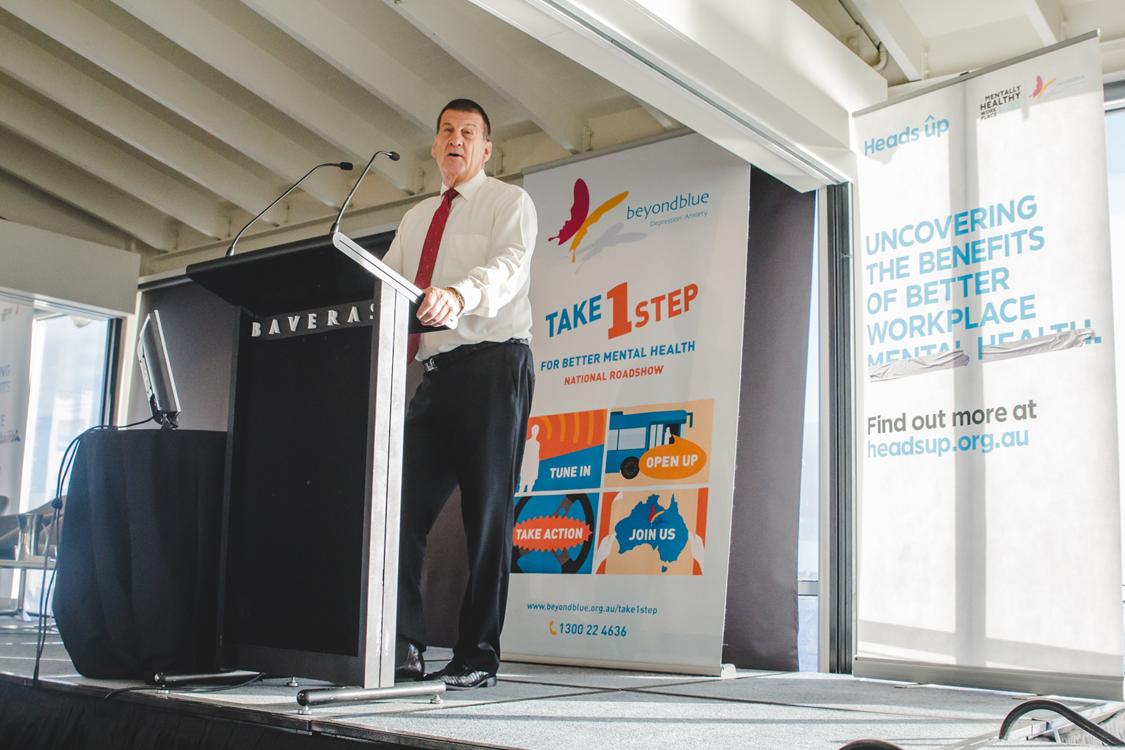 Chairman Jeff Kennett talks mentally healthy workplaces in Geelong.