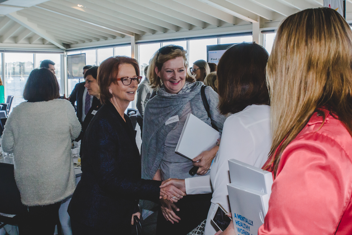Beyond Blue Director The Hon. Julia Gillard greets attendees at the Heads Up business breakfast in Geelong.