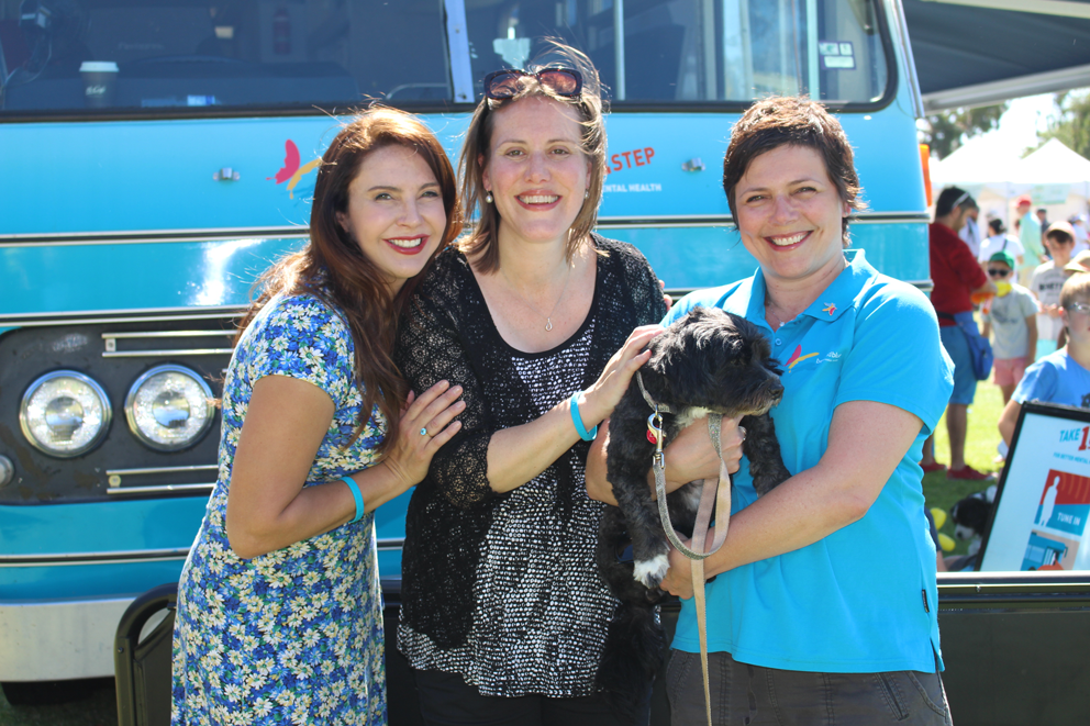City of Stonnington Mayor Cr Melina Sehr, Federal Member for Higgins Kelly O'Dwyer and Beyond Blue CEO Georgie Harman – and her dog Lola – at Pets in the Park.