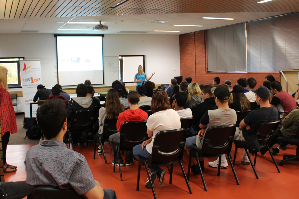Beyond Blue's Bron Collins presents to students of Moorabbin Holmesglen Institute of TAFE.