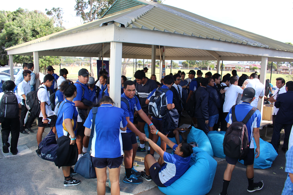 Westall Secondary College students enjoyed a visit from the big blue bus.