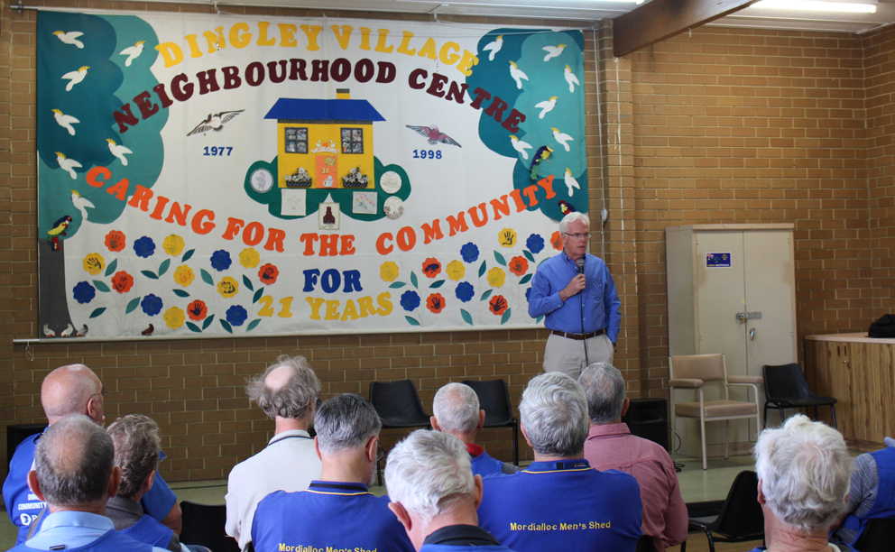 Beyond Blue Speaker David Corduff shares his personal story with members of the Dingley Village Men's Shed.