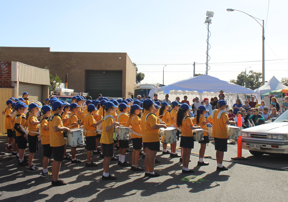The Caulfield South Primary School Drum Corps in action at the Ormond Community Festival.