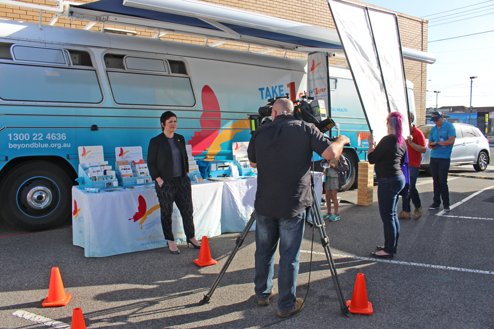 Beyond Blue CEO Georgie Harman is interviewed by Channel Ten's The Project from Ormond Community Festival.
