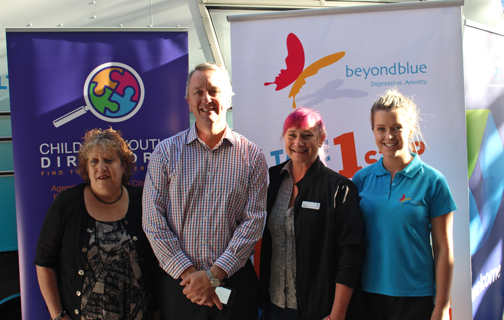 Victorian Minister for Mental Health Martin Foley dropped by the bus at South Melbourne Market.