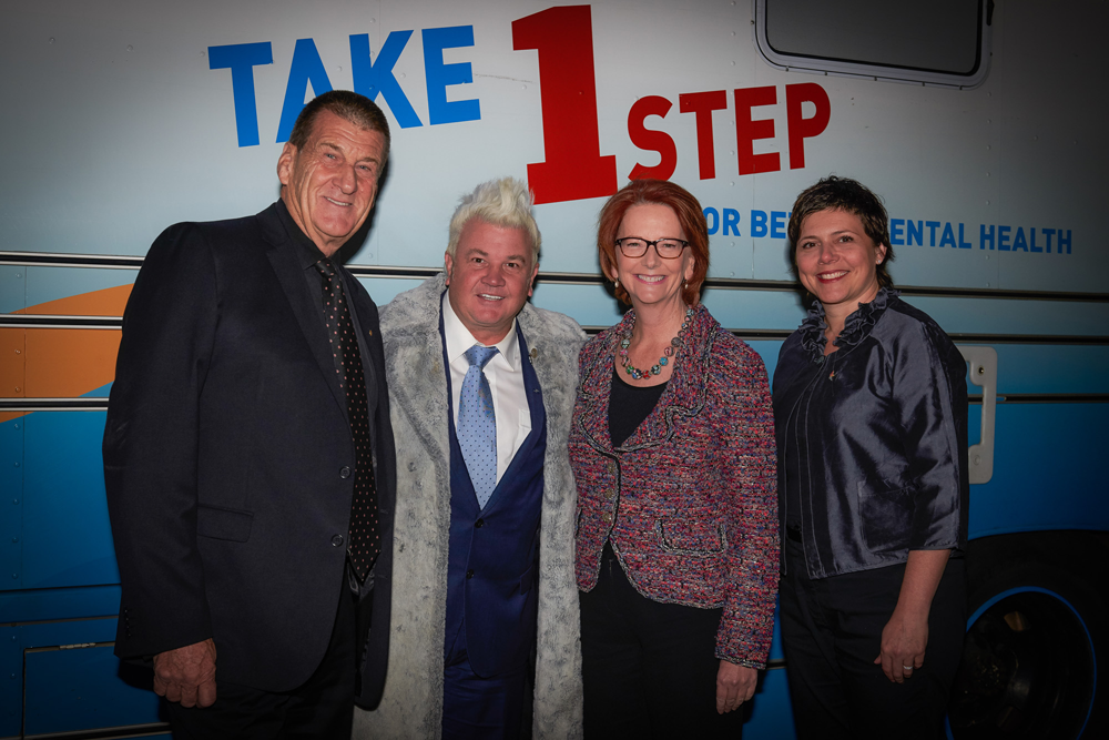 Beyond Blue Chairman The Hon Jeff Kennett AC, City of Greater Geelong Mayor Darryn Lyons, Beyond Blue Director The Hon Julia Gillard and Beyond Blue CEO Georgie Harman in Geelong: VIC.