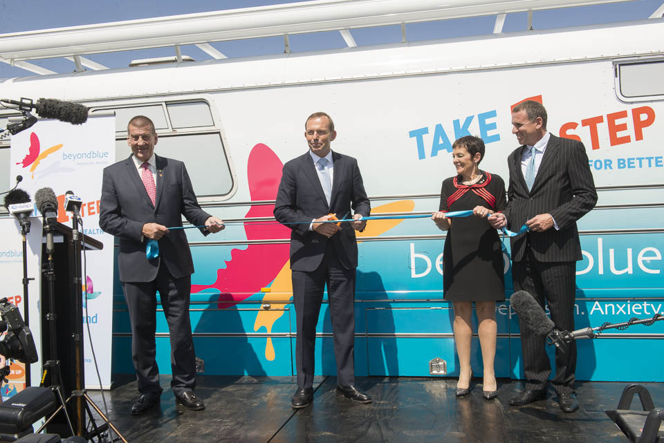 Prime Minister Tony Abbott cuts the ribbon and declares the Roadshow launched in Canberra: ACT.