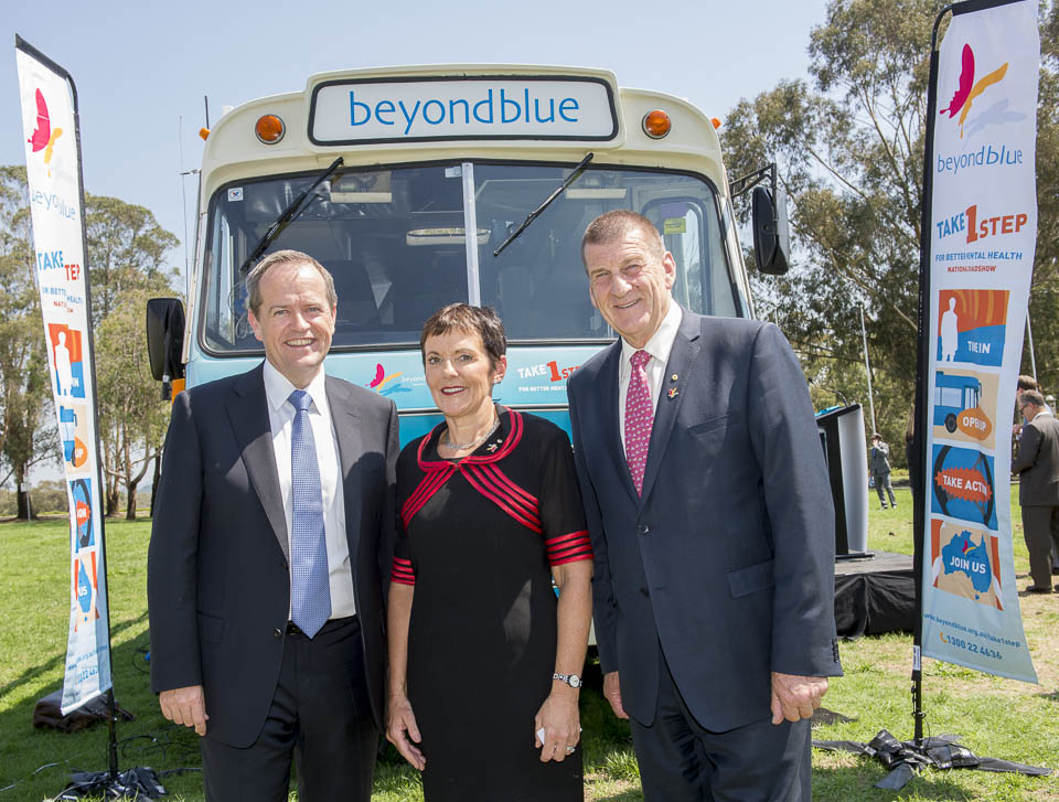 Leader of the Opposition Bill Shorten with Kate Carnell and Jeff Kennett at the Roadshow launch: ACT.