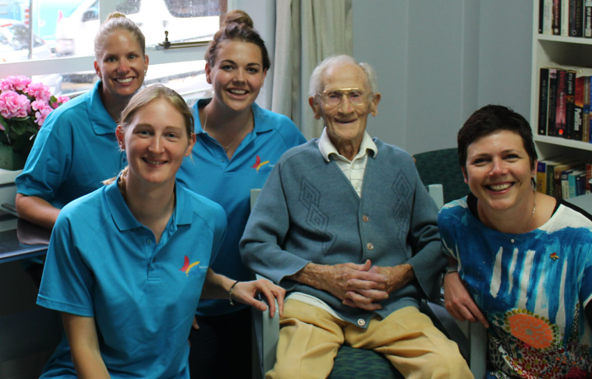Sarah, Lizzie, Charlotte and Beyond Blue CEO Georgie Harman had the pleasure of meeting Greenway Housing Estate's oldest resident – the lovely 106-year-old Albert.