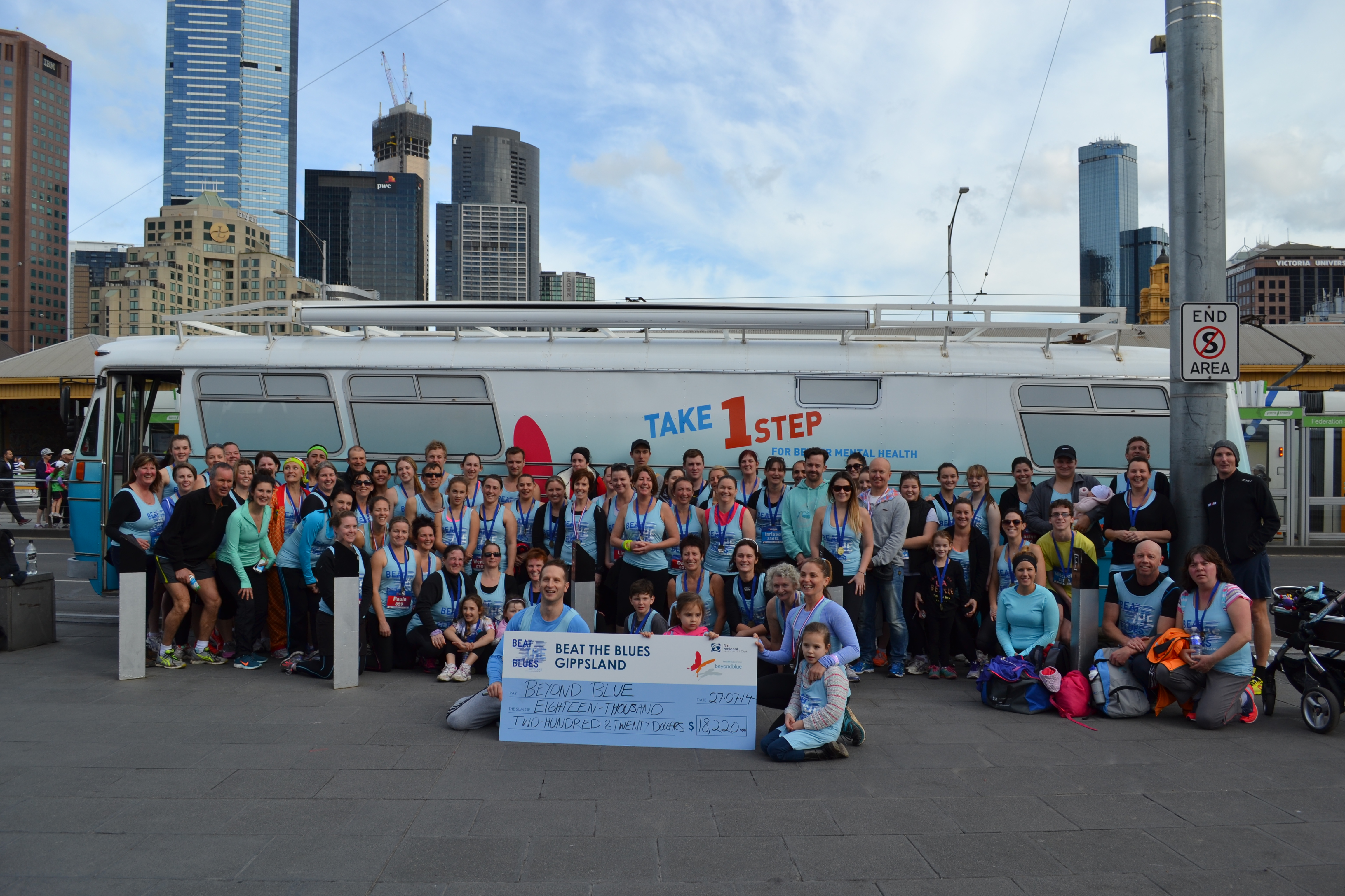 The enormous 'Beat the Blues Gippsland' team raised over $18,000 for Beyond Blue in Run Melbourne: VIC.