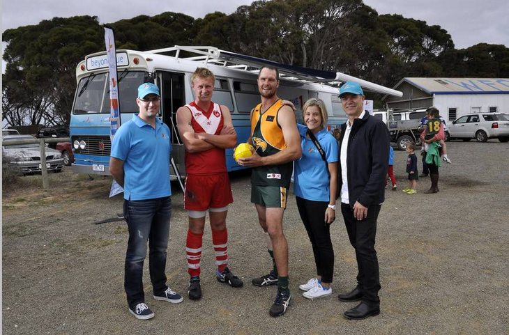 Meeting the captains ahead of the footy match on Kangaroo Island: SA.