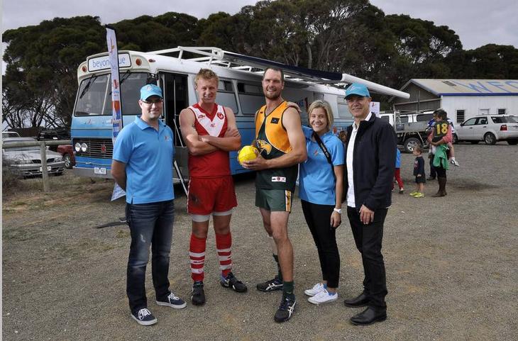 Meeting the captains ahead of the footy match on Kangaroo Island: SA.