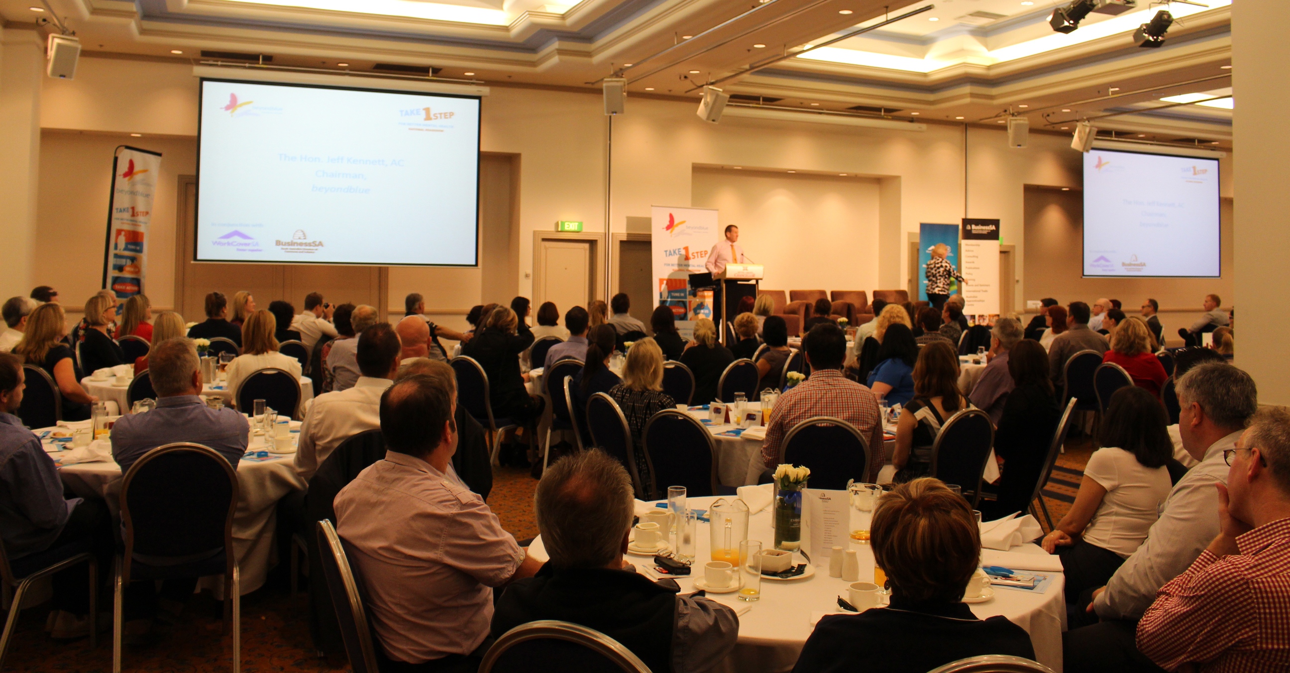 Jeff Kennett speaking to 200 business owners and managers at a workplace breakfast in Adelaide: SA.