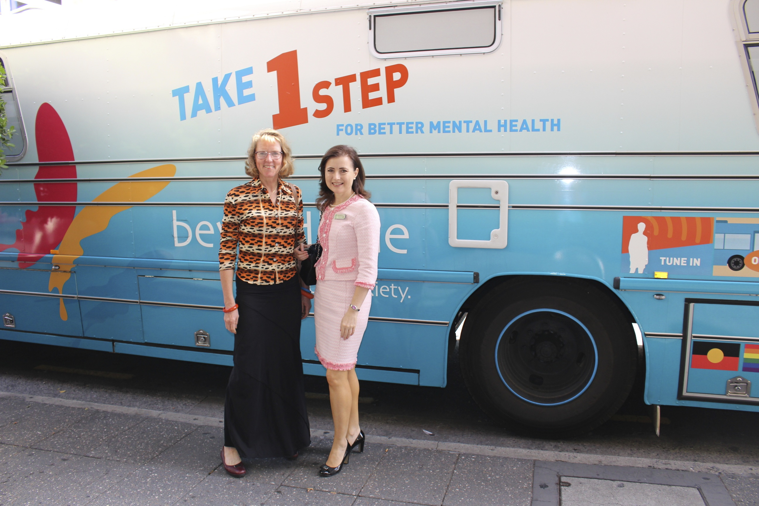 Beyond Blue Ambassador Mary Jo Fisher and Adelaide MP Rachel Sanderson visited the bus in Adelaide: SA.