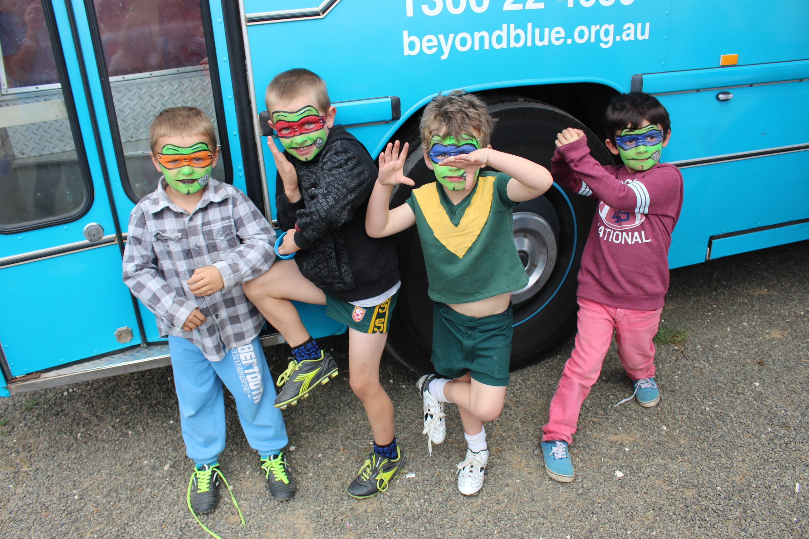 The bus had some special security escorts while on Kangaroo Island: SA.