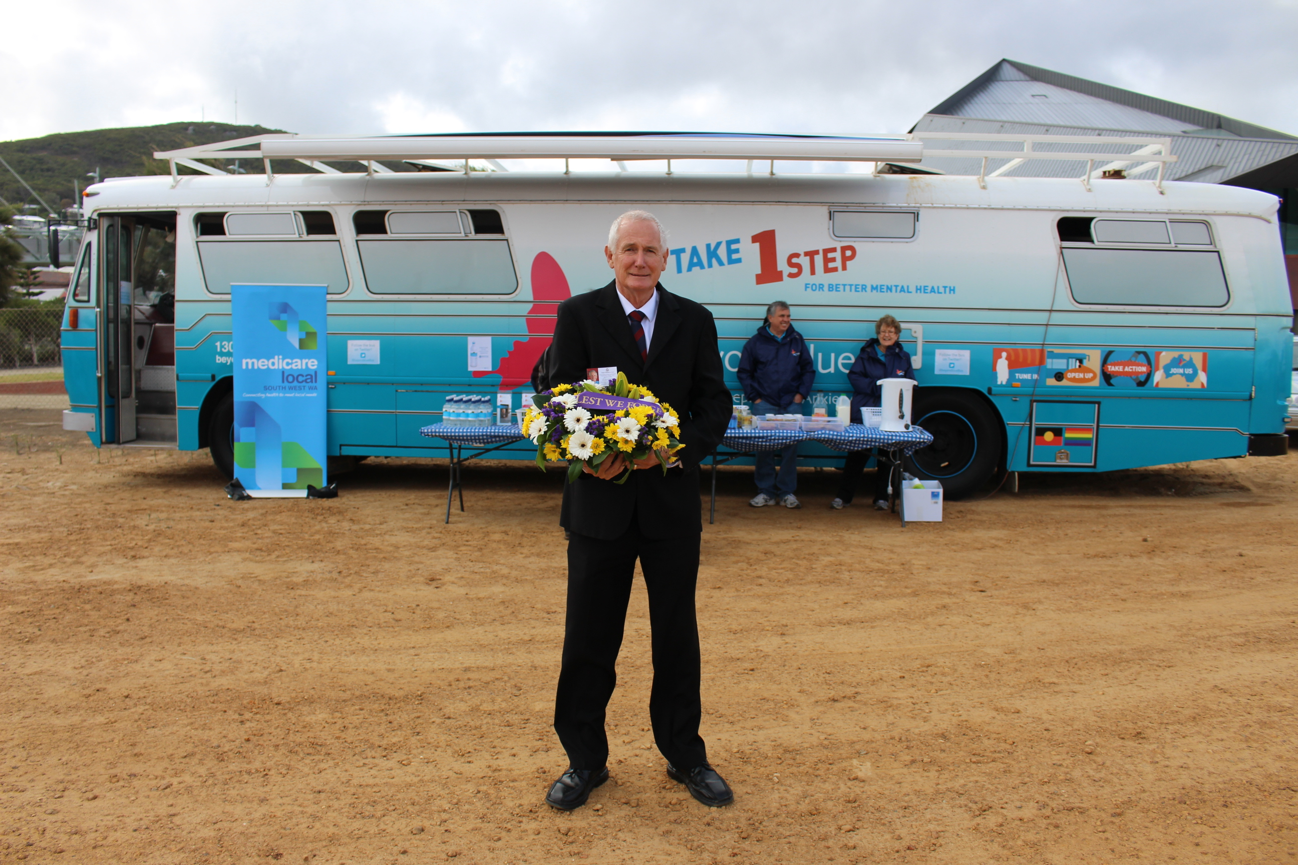 Member for Albany Peter Watson with a wreath to lay for Anzac Day in Albany: WA.