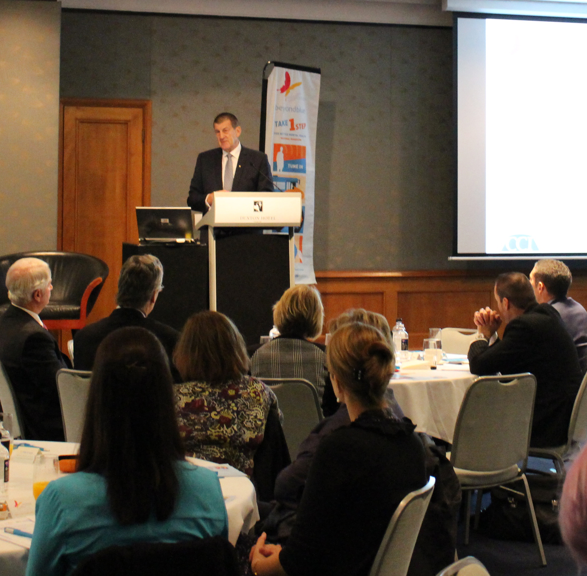 Beyond Blue Chairman Jeff Kennett speaking to business leaders in Perth about the importance of creating mentally healthy workplaces: WA.