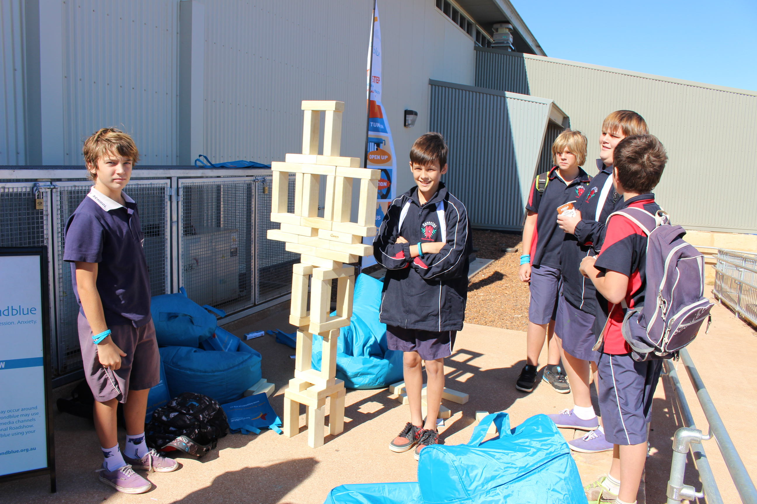 Students getting creative with the giant jenga in Karratha: WA.