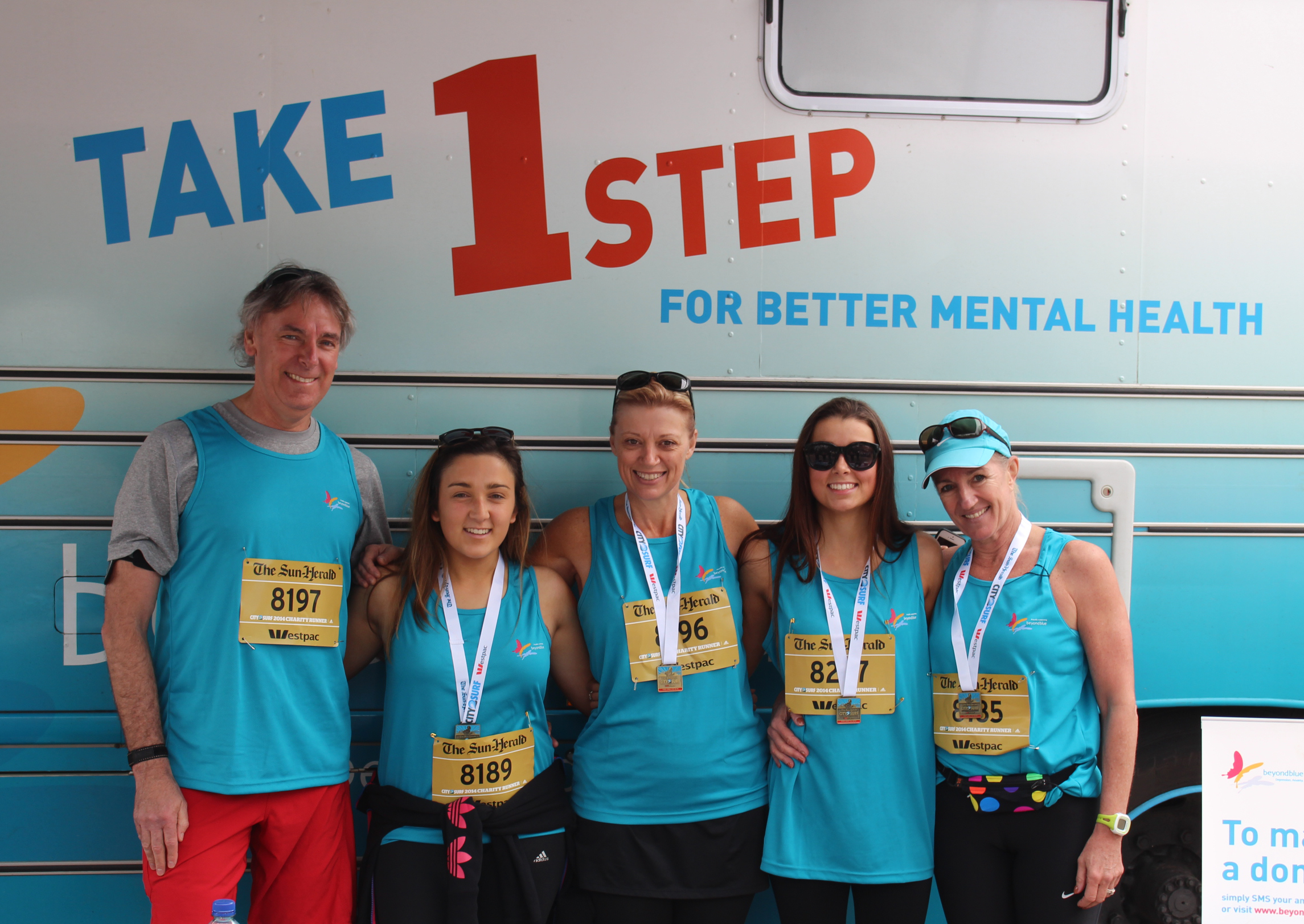 Some members of 'Team Karen for Beyond Blue in honour of Nick and Ayden' who raised over $26,000 at City2Surf: NSW.