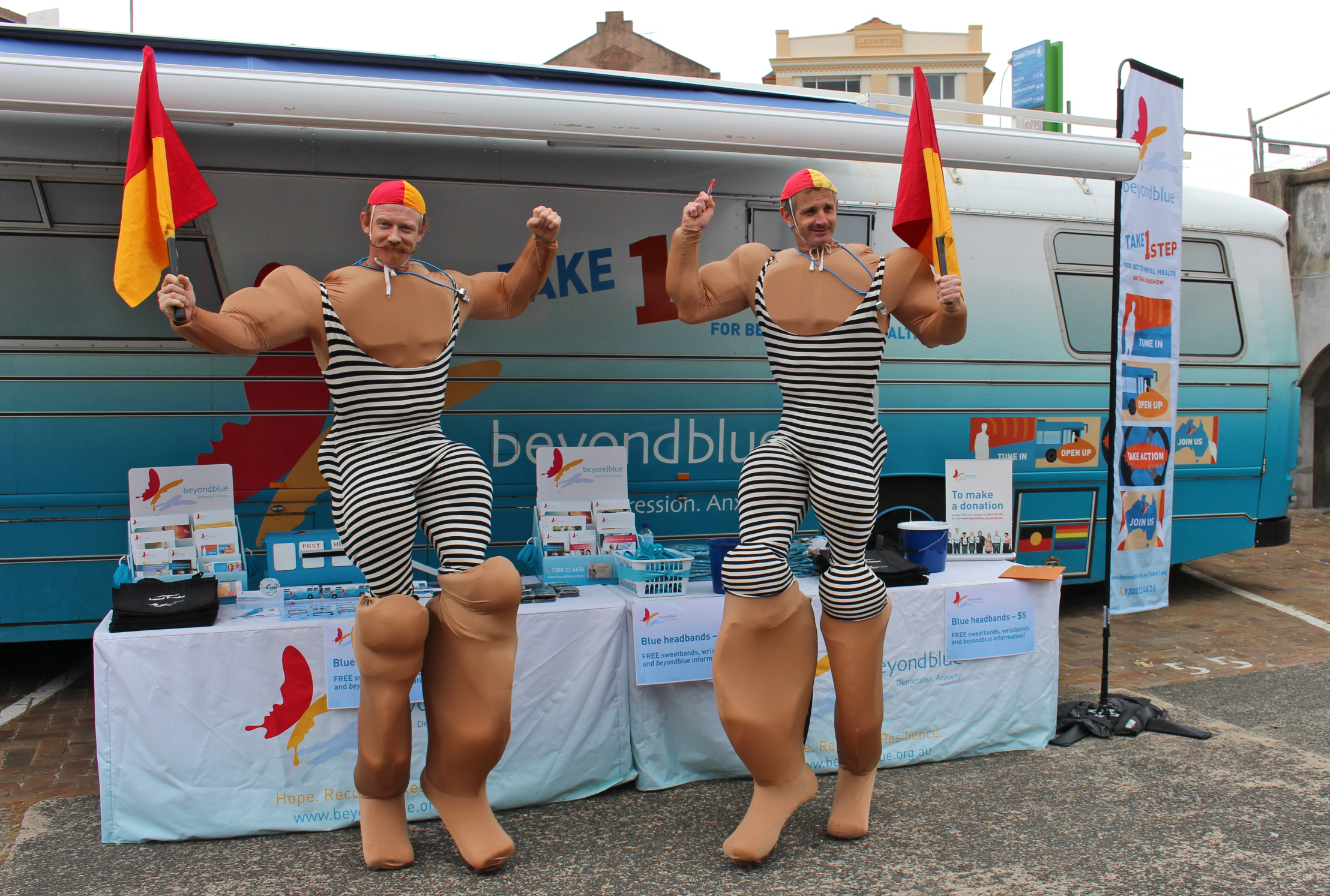 A pair of very large lifesavers sauntered past for a photo at City2Surf: NSW.