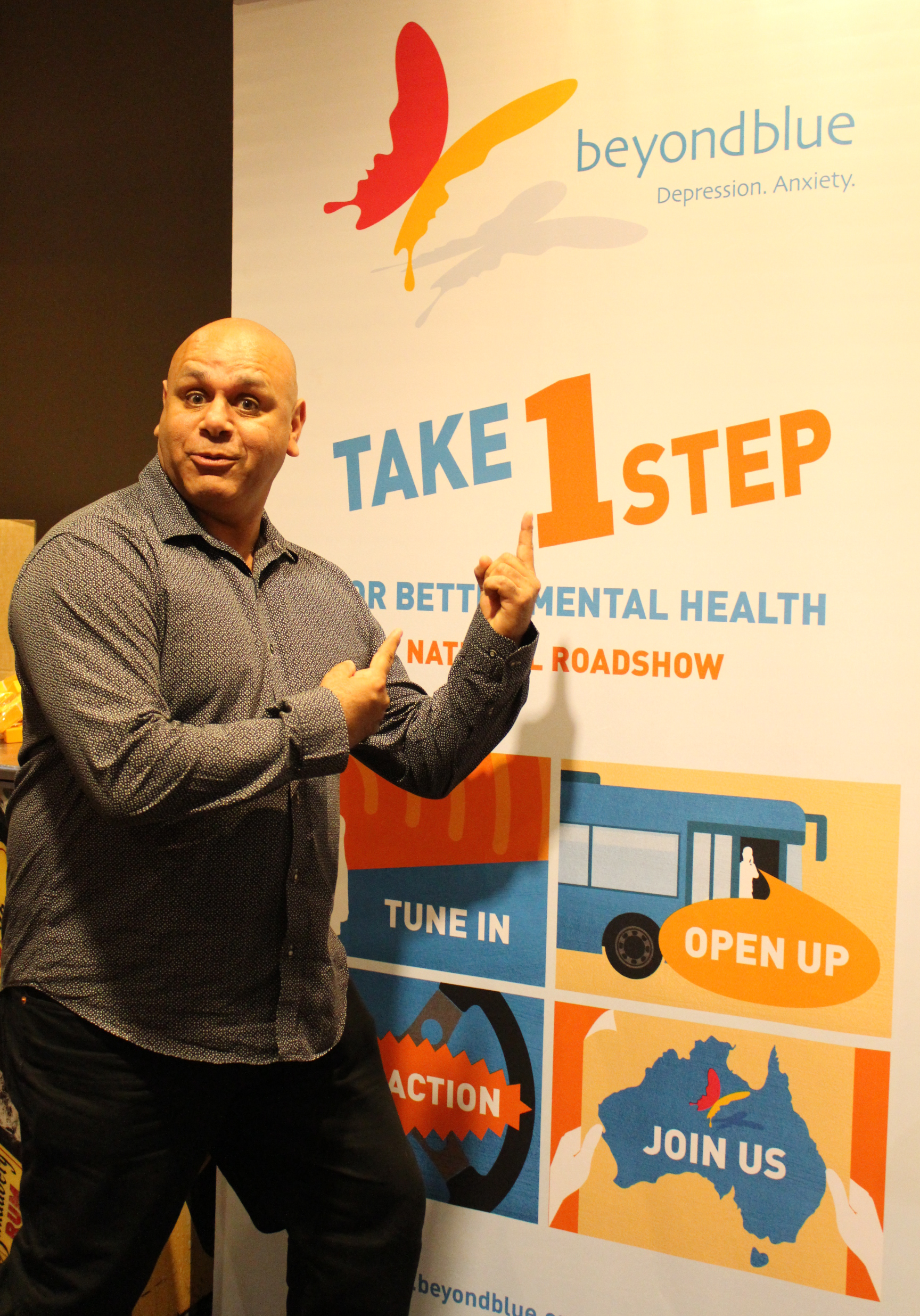 Comedian Kevin Kropinyeri supporting the 'Take 1 step' message through comedy in Cobar: NSW.