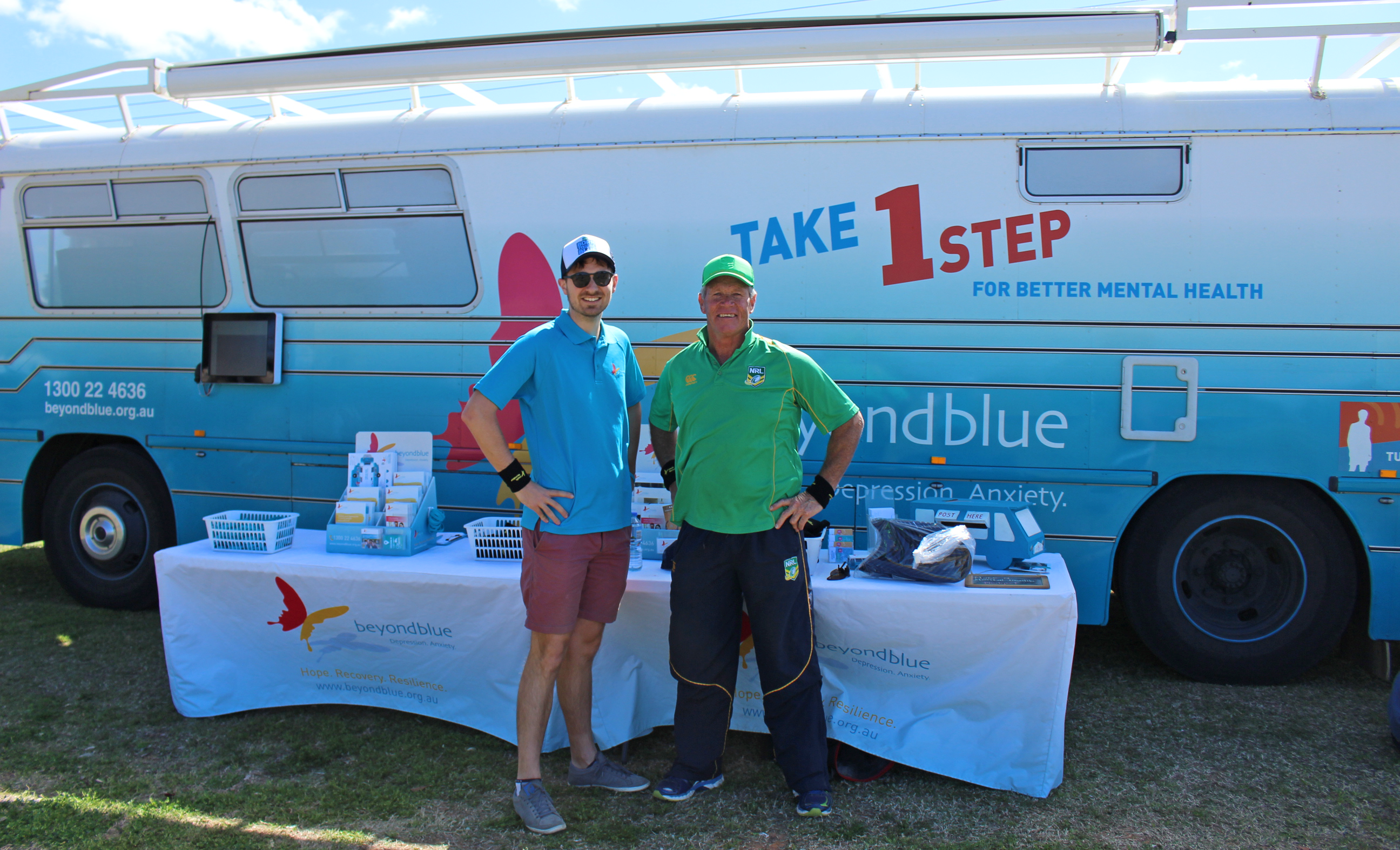 Beyond Blue's Hugh meets former NRL rugby league star Ronnie Gibbs in Bourke at the Ronnie Gibbs Rugby and Netball Tournament: NSW.