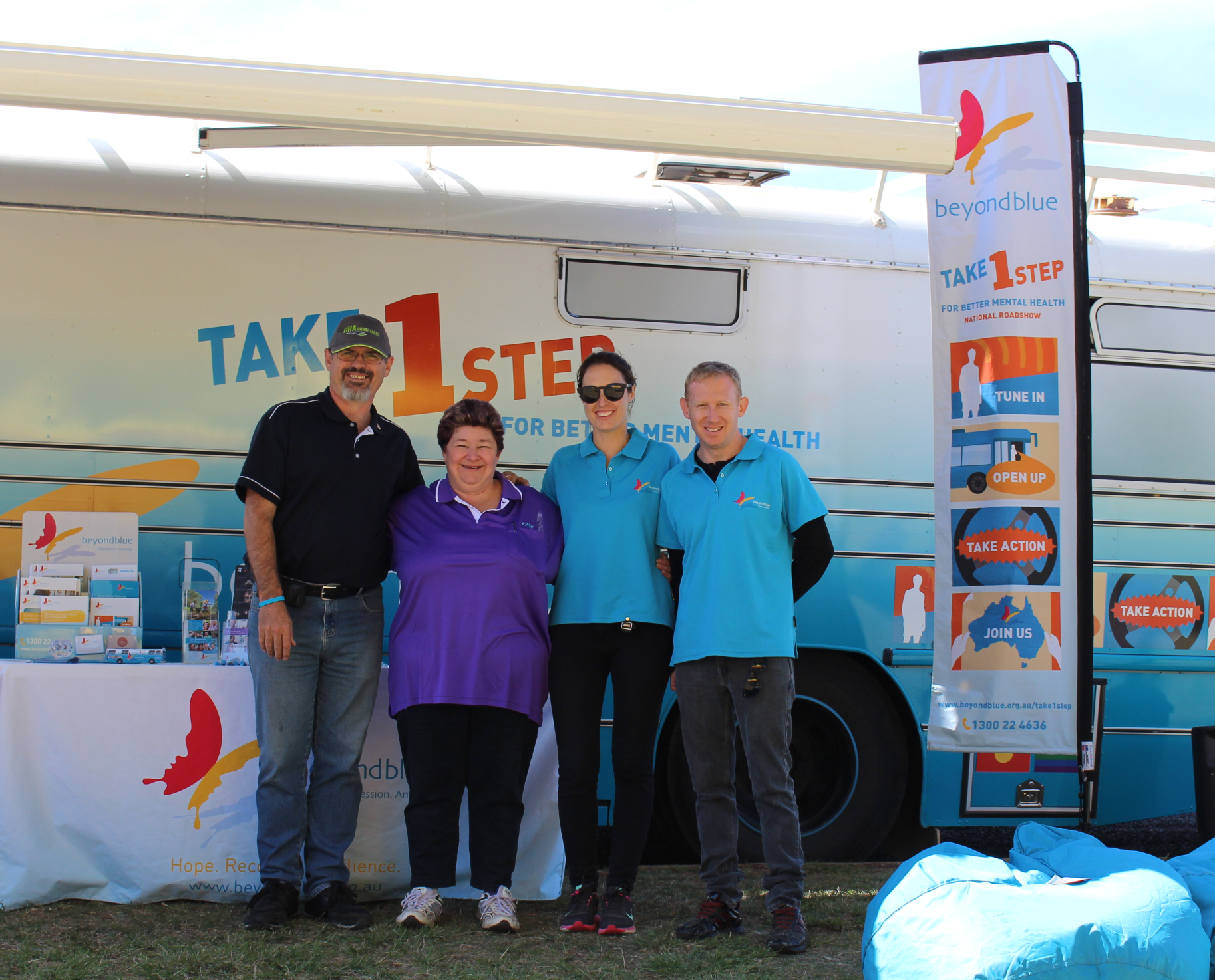 Beyond Blue speaker Eddie Sloan, Pathway2Hope's Kaye Hibbs and beyondblue's Kelly and Shaun in Kingaroy - the town that started a petition to bring the big blue bus to town: QLD.
