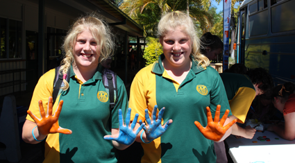 Creating colourful art canvases at Burnett State College, Gayndah: QLD.
