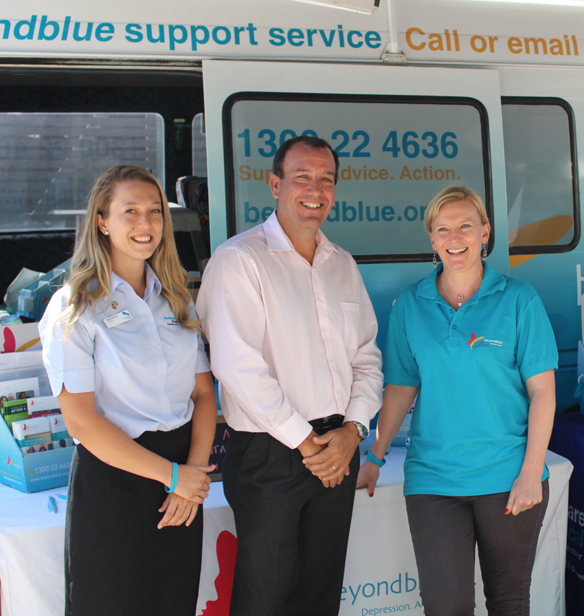 Sunshine Coast Medicare Local's Nicole Cool, Federal Member for Fisher Mal Brough and Beyond Blue's Michelle Chiller at the University of the Sunshine Coast: QLD.