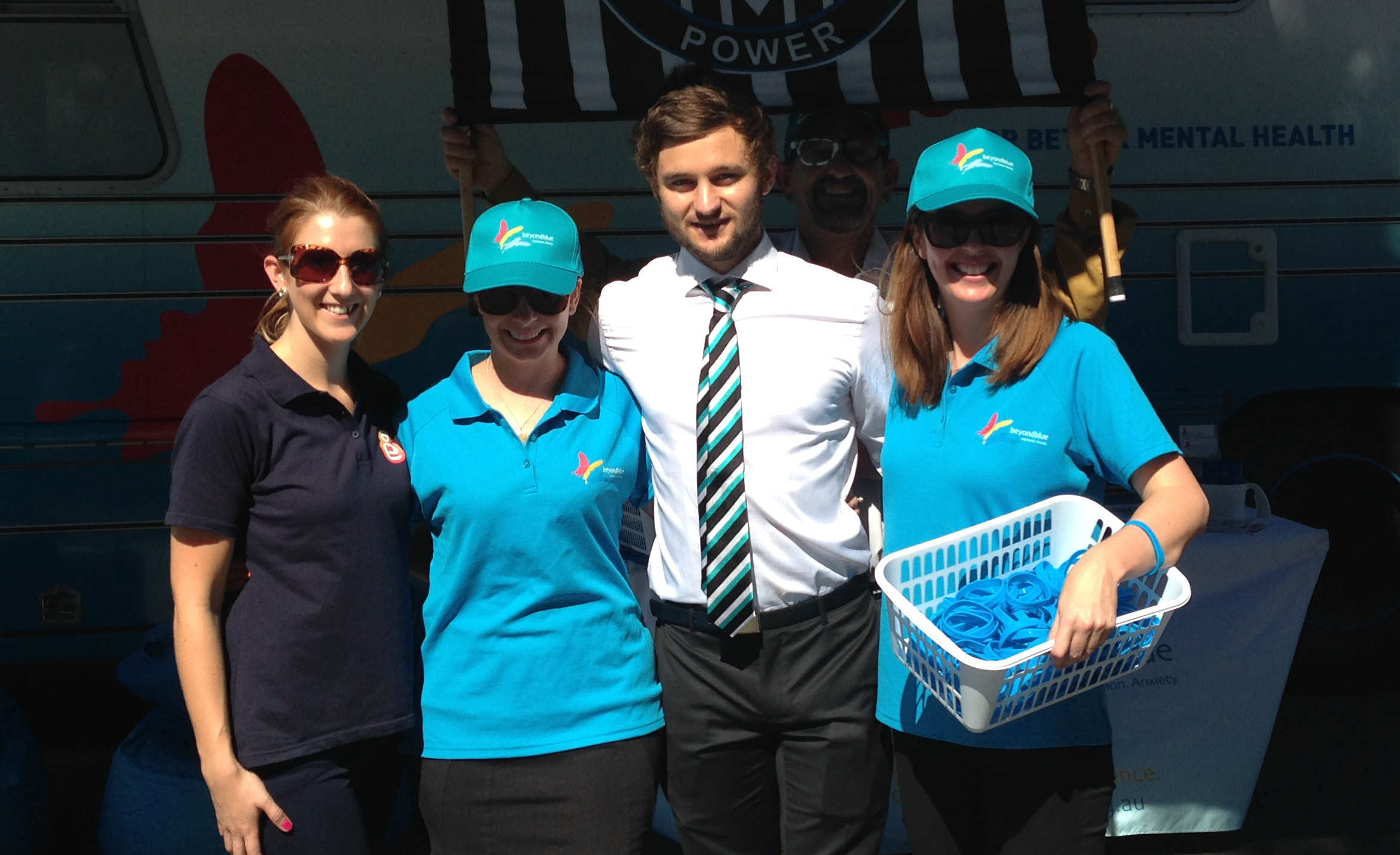 Port Power's Sam Grey drops by the bus at the Power vs Crows showdown at Adelaide Oval: SA.