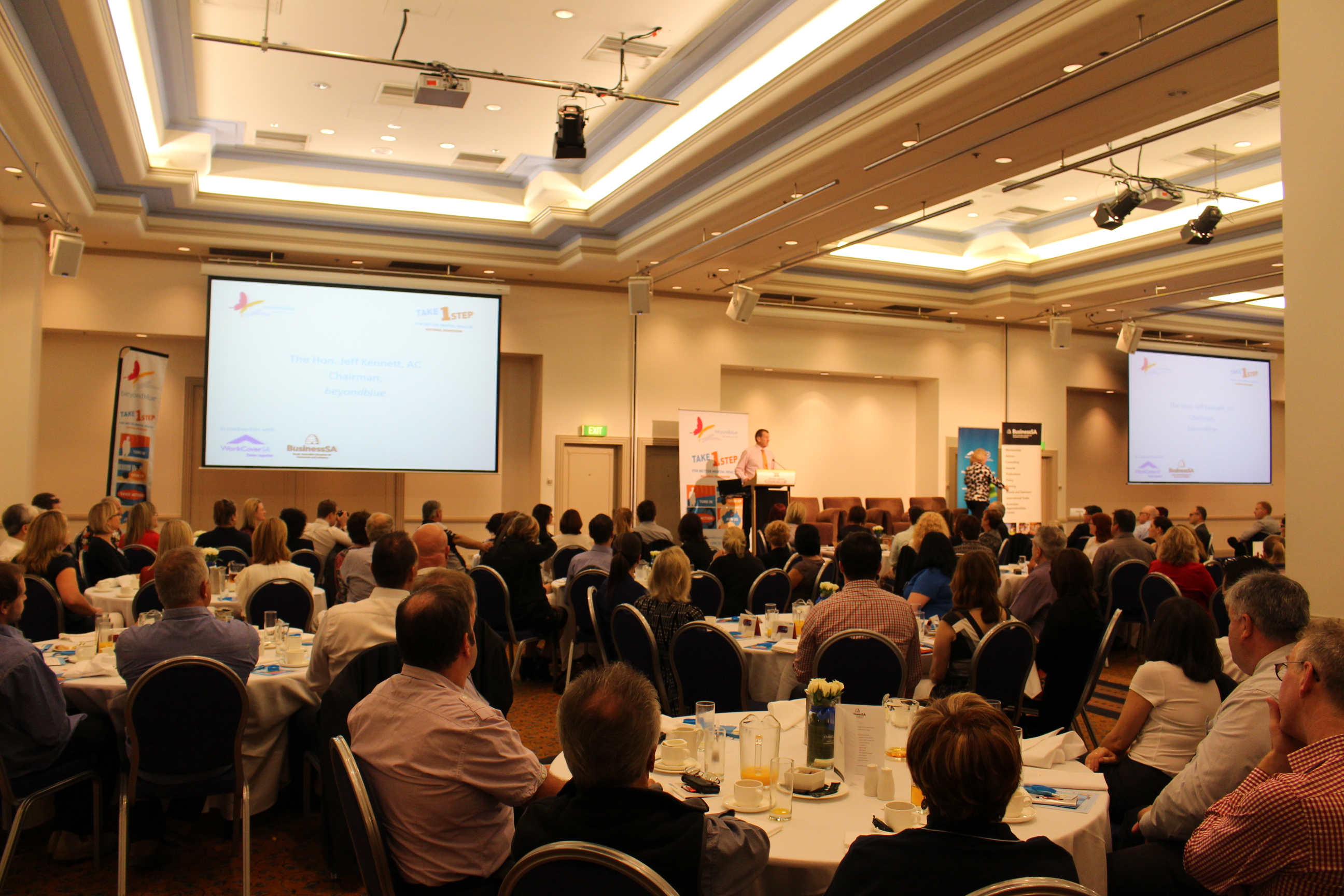 Beyond Blue Chairman The Hon Jeff Kennett AC addresses the workplace breakfast in Adelaide.