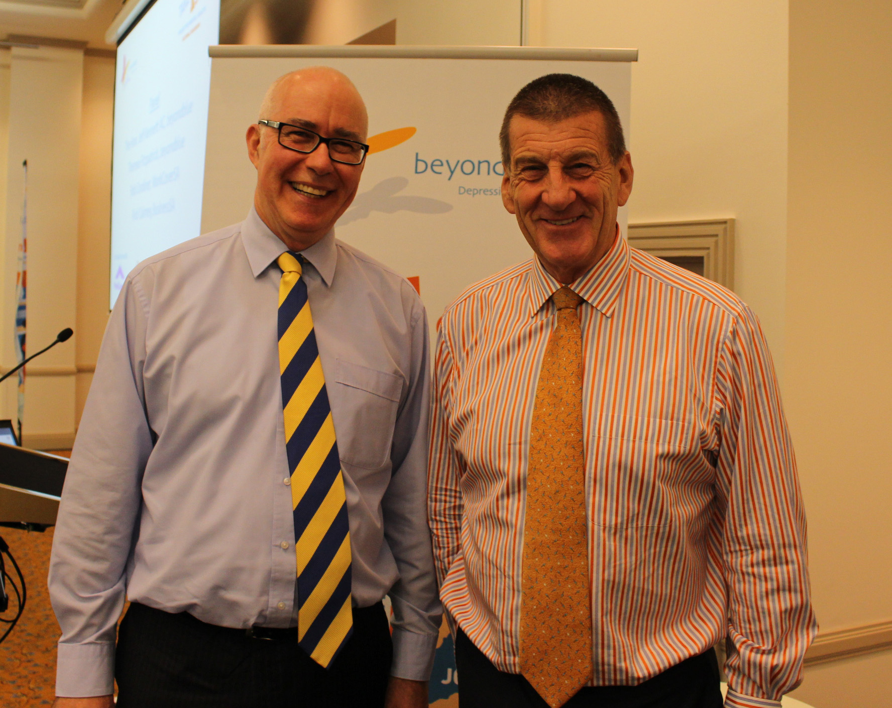 WorkCoverSA General Manager of Insurance Rob Cordiner and Beyond Blue Chairman The Hon Jeff Kennett at the workplace breakfast in Adelaide.