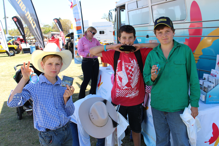 Sweatbands and wristbands on show at Westech Field Days in Barcaldine.