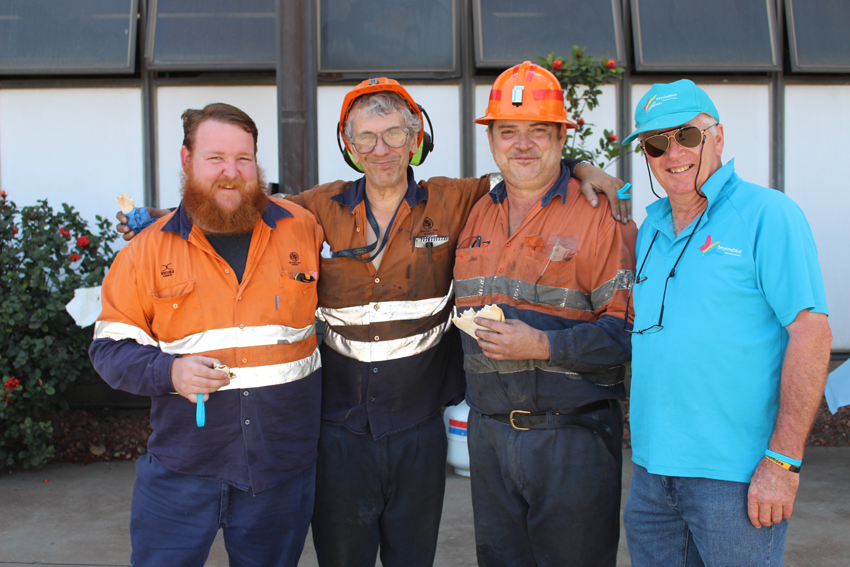 Mt Isa Mines staff show their support for Beyond Blue's visit.